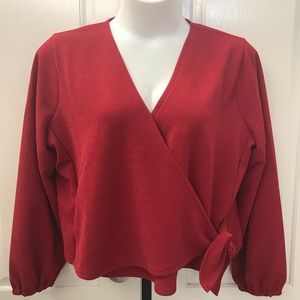 NEW wTag-Women's MADEWELL Red Wrap Shirt Sz 2X